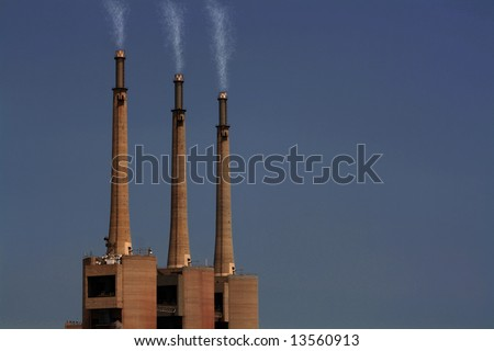 sky contamination and pollution, source of world overheating - stock photo