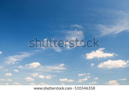 Sky daylight and many white clouds on blue sky background. Natural sky composition.