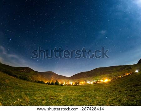 Sky full of stars. Beautiful summer night. Crimea Mountains  - stock photo