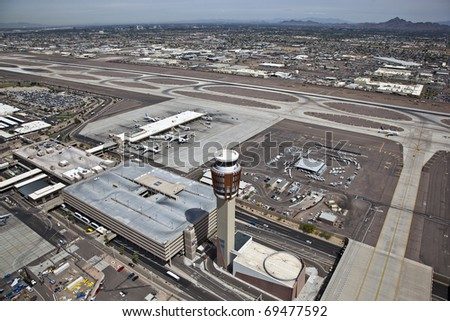 Sky Harbor Airport and Contol Tower - stock photo