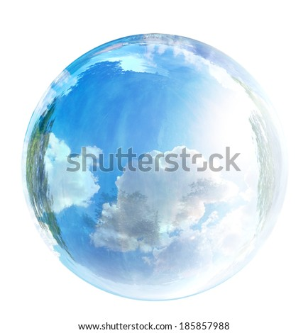 sky in glass bubble - stock photo