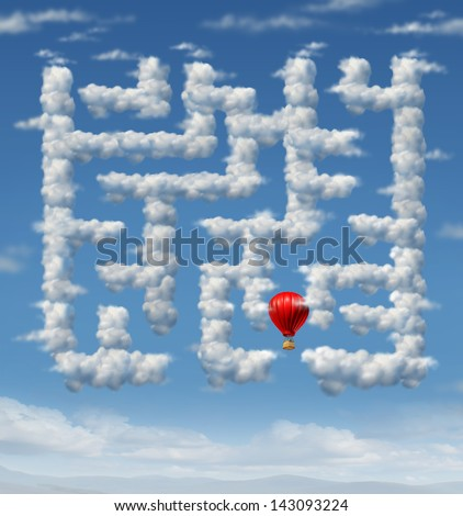 Sky is the limit concept with a red hot air balloon flying up to the sky navigating through a group of storm clouds shaped as a maze or labyrinth puzzle as an icon of leadership success strategy. - stock photo