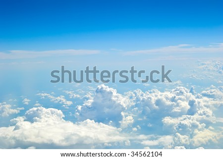 Sky landscape made from aircraft - stock photo