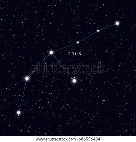 Sky Map With The Name Of The Stars And Constellations Astronomical Symbol Constellation Grus