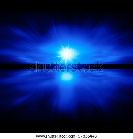 Sky of Blue Light - fractal landscape - stock photo