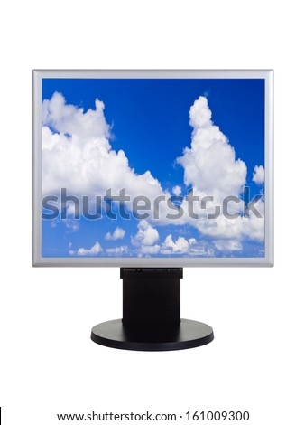 Sky on computer monitor isolated on white background - stock photo