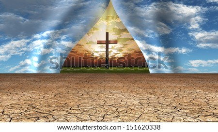 Sky pulled apart to reveal cross, light and place beyond - stock photo