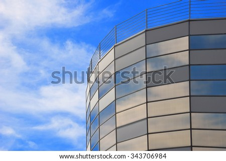 Sky reflection in windows of an office building