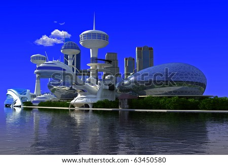 Sky-scrapers of modern city ashore - stock photo