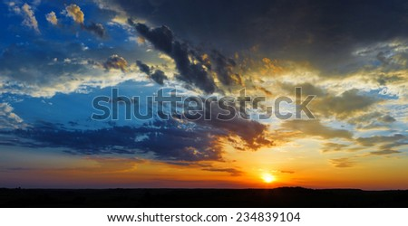 sky sunset clouds landscape - stock photo