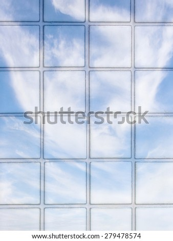 Sky tile block in the natural living room. - stock photo