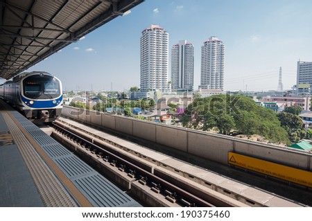 Sky train station in Bangkok  - stock photo