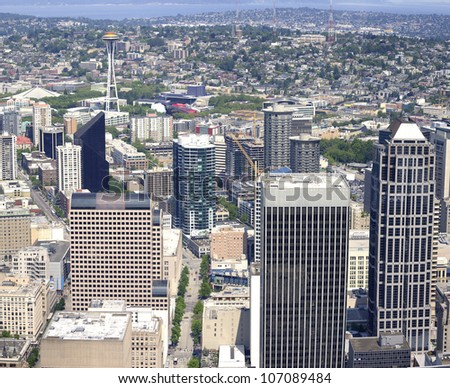 Sky-view Seattle from the Columbia Center tower. - stock photo