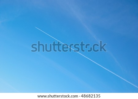 Sky with airplane track can be used for background