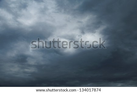 sky with black clouds before a spring rainstorm