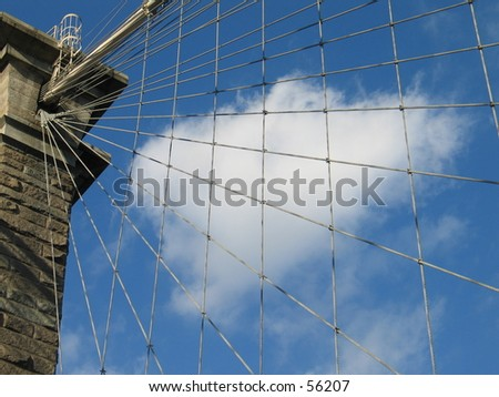 Sky with cables in foreground - stock photo
