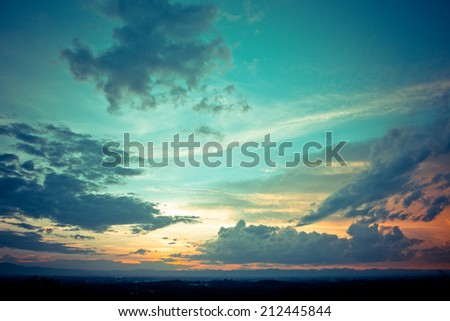 Sky with cloud at sunset - stock photo