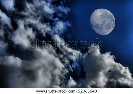 Sky with clouds and Moon