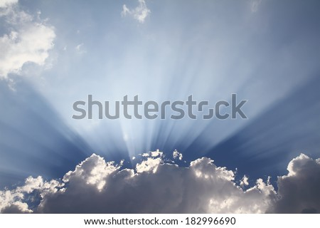 sky with clouds and sun ray - stock photo