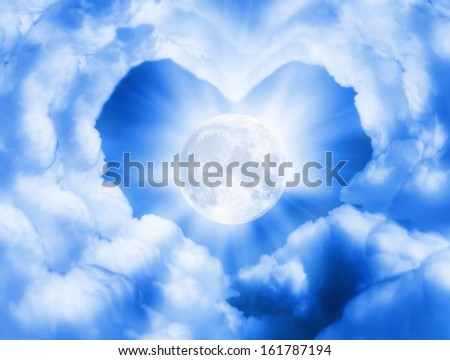 sky with large moon - stock photo