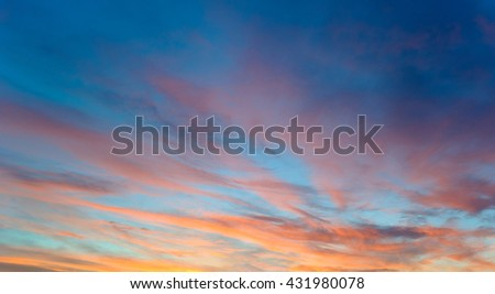 Sky with pink clouds at dawn
