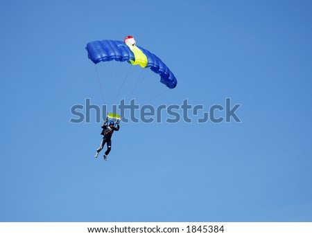 Skydiver participating in an international competition.