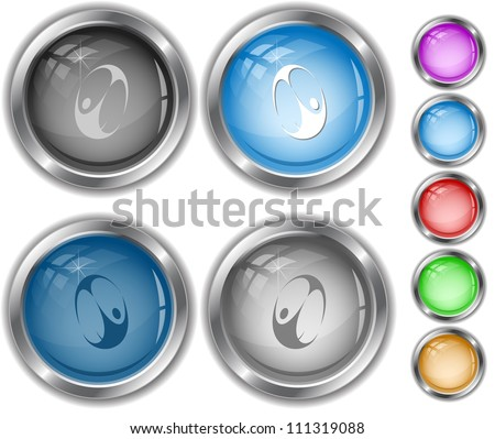Skydiver. Raster internet buttons. Vector version is in portfolio. - stock photo