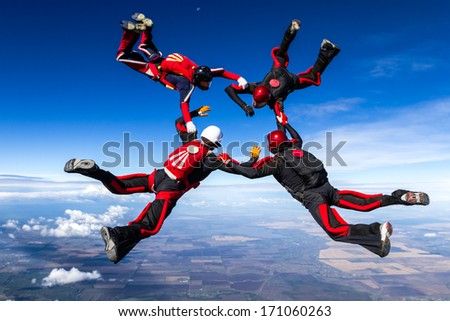 Skydivers in relative work.