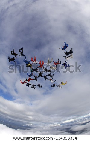 Skydiving Formation - stock photo