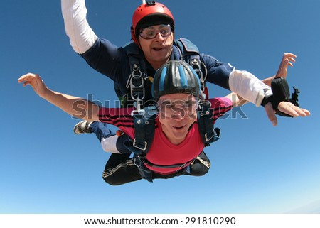 Skydiving happiness - stock photo