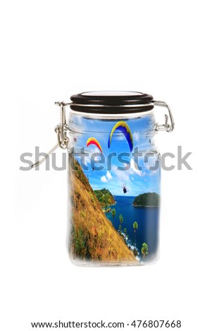skydiving inside glass bottle, abstract concept of savings an nature, isolated on white background