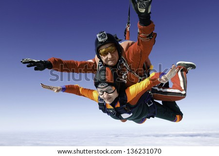 Skydiving photo. Tandem. - stock photo