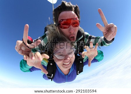 Skydiving Tandem Hands - stock photo