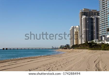 Skyline along the beach of Sunny Isles Beach, Florida - stock photo
