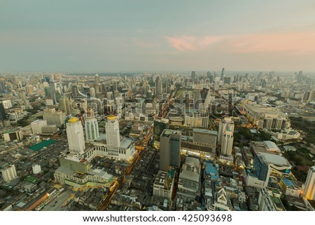 Skyline and aerial view city downtown - stock photo