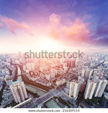 skyline and cityscape of modern city - stock photo