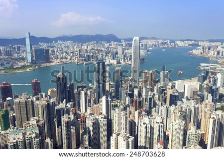 skyline and cityscape of modern city,hong kong.