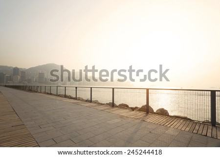 skyline and coastline of hong kong,china - stock photo