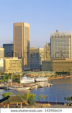 Skyline and Harbor of Baltimore, Maryland - stock photo