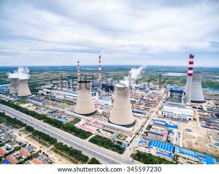 skyline and landscape of power plant - stock photo
