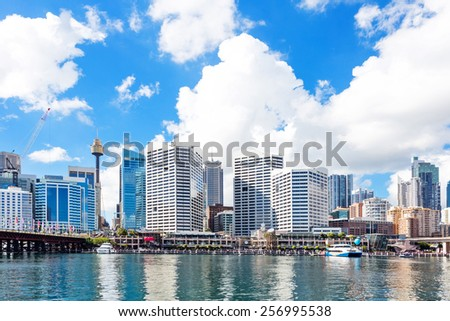 skyline and office building at seashore - stock photo