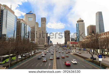 Skyline and traffic in Beijing's Central Business District. Beijing, China - stock photo