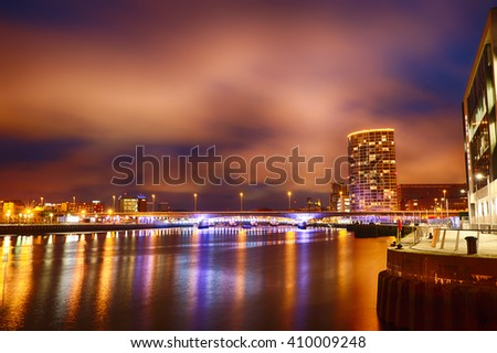 Skyline at Night over the River Lagan, Belfast City, Northern Ireland, United Kingdom (UK). - stock photo