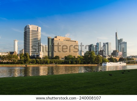 Skyline at the river Main in frankfurt, Germany in the morning