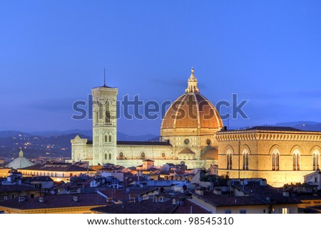 Skyline at twilight of Florence, Italy dominated by the famous Duomo (Basilica of Saint Mary of the Flower) - stock photo