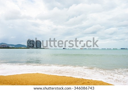 skyline,beach and clear sea water