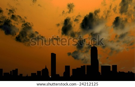 skyline boston - stock photo