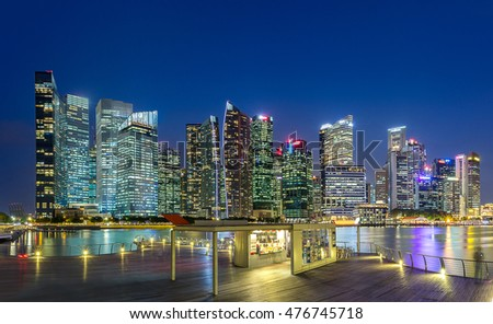 skyline building,in business zone downtown, of Singapore in twilight time