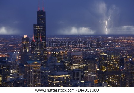 Skyline Chicago with Storm in a Distance. Chicago South Side View. Chicago, IL USA. American Cities Photo Collection. - stock photo