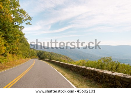 skyline drive and blue ridge mountains - stock photo